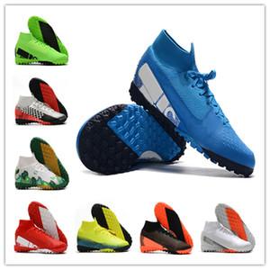 De calidad superior Mens Boys crampones botas de fútbol Mercurial Superfly Elite 7 MDS TF Cr7 Scarpe Calcio hombre Tacos de fútbol