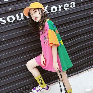 UFwNz Abnutzungsmädchen-T-Shirt mit kurzen Ärmeln im westlichen Stil mittleren und großen neuen koreanische Art losen Sommer mittellange tong t xu Kinder childr