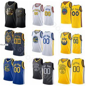 Ekran Baskı Basketbol Stephen Curry Formalar Thompson Draymond Green Andrew Wiggins Eric Paschall Mavi Beyaz Sarı Erkek Kadın Gençlik