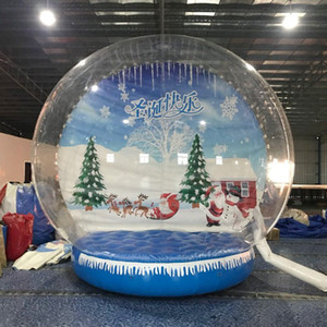 Customized Inflatable Snow Globe Photo Booth On Sale Transparent Inflatable Human Snow Globe 3M Dia Christmas Yard Snow Globe Decoration