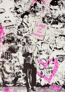 Г-н Brainwash Бэнкси Любовь Ответ Home Decor расписанную HD печати Картина маслом на холсте Wall Art Canvas картинки 200809
