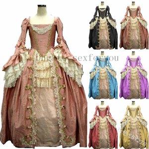 Frauen-Weinlese Mittelalterlichen Kleid-Spitze-lange Hülsen-Kleid-Halloween-Cosplay Kostüm-Kleid Tunika Taille Renaissance Tuch