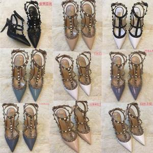 Mulheres Quentes Bombas Sapatos De Casamento Mulher Salto Alto Sandália Nu Nu Moda Ankle Correias Rebites Tênis Sexy High Saltos Bridal Sapatos 35-45
