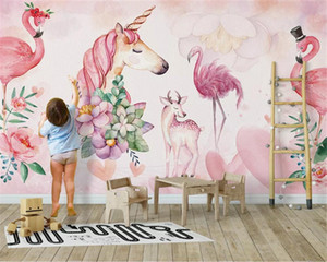 Custom size wall paper Nordic pink simple flamingo children's room decoration background papel de parede 3d wallpaper