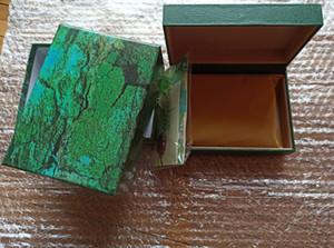 Бесплатная доставка Lu Xury Watch Mens для RO и LEX Watch Box Оригинальные Внутренние Внешние Woman Часы Ящики Мужчины Наручные Часы Зеленая коробка Буклет Карта