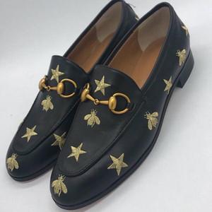 pisos bordados foto real Luxura manera del cuero genuino de cuero real de la estrella Negro envío libre deslizamiento superior bajo el zapato casual botas c29