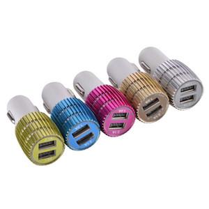 200PCS Красочные Led автомобилей Зарядные устройства 2 USB Cigarette Порты 5V 2.1A 1A Micro адаптер Auto Power для iPhone 7 8 X зарядное устройство, Fee DHL