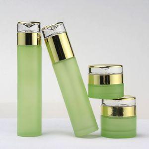 30ml 60ml 120ml fosco vidro verde spray Loção garrafa vazia Creme Jar Garrafa plástica embalagem com tampa de plástico de Ouro