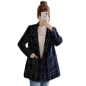 Woman Coats Winter Fashionable Plaid Wool Jacket Woman Autumn Winter Gold Standard Suit Tweed Fringe Coat and Jackets Women