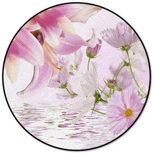 Plantes Lily Flower Imprimé ronde Tapis pour Salon Chambre Alfombra Tapis Enfants Zone Chambre Tapis