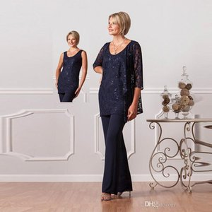 2020 tailleur pantalone formale per Madri sposa su misura Plus Size Madre del pizzo abiti da sposo Donna Navy Blue vestiti da sera delle vesti de soiree