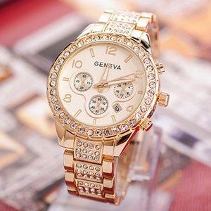 Reloj exquisito reloj de acero inoxidable de los relojes de las mujeres de moda de las mujeres del Rhinestone de lujo ocasionales de reloj de cuarzo