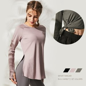 SALSPOR Loose Yoga Clothes For Fitness Sport Shirt Women Blouse O Neck Workout Running Long Sleeve Femme Gym Top With Thumb Hole