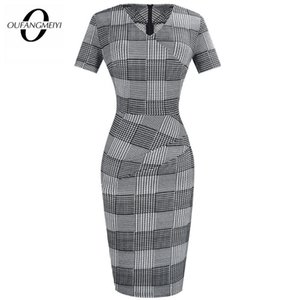 여름 여성 빈티지 그리드 드레스 우아한 클래식 공사 사무소 칼집 연필 드레스 EB537