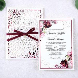 Blue Ribbon 1pcs Laser Cut oco Rose Wedding convites Cartões Com Burgundy e envelopes para o casamento