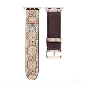 Fashion Luxury Designer Watch Bands for 38mm 40mm 42mm 44mm Series 5 4 3 2 Smart Watch Straps Leather Bee Cat Printing Watchband