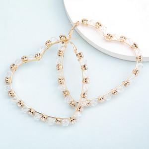 Find Me Simple Hollow Alloy Big Hoop Earrings for Women Round Star Heart Rhinestone Earrings Fashion Jewelry Accessories