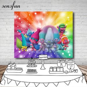 Sfondi Cartoon Trolls principessa Papavero Fotografia Sfondo bambini festa di compleanno per Photo Studio Vinyl 7x5FT