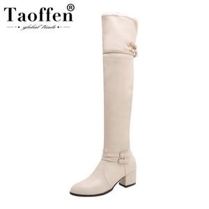 Taoffen Damen Plus Größe 32-48 Sexy Overknee-Stiefel Schnalle Zipper Winter-Schuh-Frauen-klumpige Ferse-beiläufige Arbeit Botas Schuhe