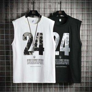 2020 New Mens T Shirts Ins Sport Mens Shirt Sleeveless Top Tees Men Summer Basketball Vest 24 Print Breathable Light Shirts Polyester