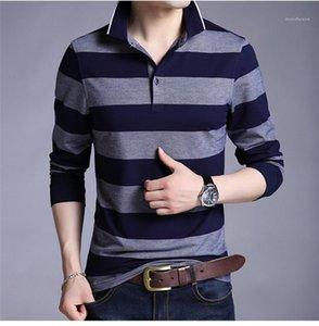 Lâche Homme Printemps Automne Polos Lapel manches longues T-shirts Bouton Maillot Homme Casual Mode Hauts Aîné Hommes rayé