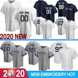 Custom Men Aaron Judge Derek Jeter 2020 Baseball Jerseys Stanton Gerrit Cole Gary Sanchez Embroidery Gleyber Torres Rivera Cool Base