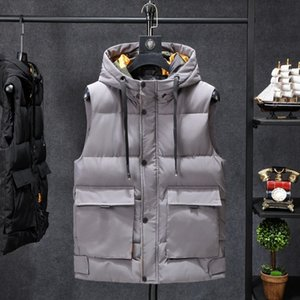 Vest Mens Winter Sleeveless Jacket Camouflage Winter Warm Cotton Vest Casual Thick Hooded Coats Male Stand Collar Loose Plus Siz