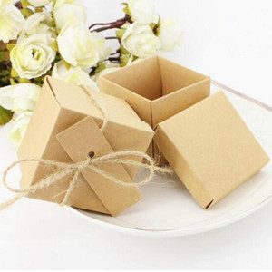 53 50pcs lot Kraft Paper Candy Box Wedding Gift Baby Shower Square Shape Wedding Favor Handmade Soap Packaging with