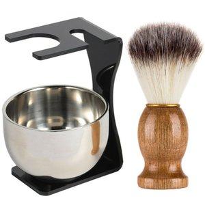 Men Shaving Set Beard Shaving Brush Stainless Steel Soap Bowl with Brush Holder Great Beard Gift Set for Men LDO