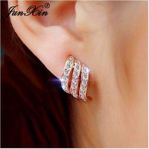 JUNXIN Female Crystal Angel Stud Earrings White Gold Rose Gold Color Small White Zircon Stone Wedding Earrings For Women