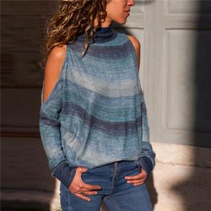 Women Long Sleeve Blouse Causal Loose Print Tops Tees Sexy Off Shoulder Turtleneck Neck Blouse Shirt Leisure Blusa Feminina 2XL