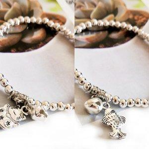 Etnik stil Tibet Boncuklu milliyet milliyet Miao bilezik Japon balığı şanslı kedi çan aşk Miao gümüş bileklik imitasyon gümüş boncuklu