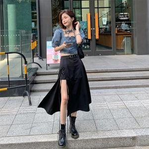 r9Jeo taille irrégulière 2020 été nouveau pantalon noir de ligne- Une jupe fendue robe fendue A mi-longueur de la ligne à haute robe skirt- minceur mJ0pQ