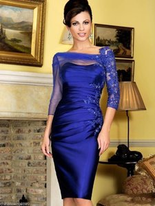 Royal Blue Satin Mother of the Bride Dresses Lace Appliqued Mum Evening Dress Groom Dress Suit 3 4 Long Sleeves Bridal Guest Dresses