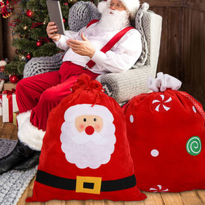Санта Velvet Present мешок Xmas Новый год Дети Подарочные конфеты сумка для хранения Дети Подарочные мешки Drawstring GWD751