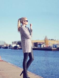 الجملة الساخن بيع تصميم جديد ربيع الشتاء خندق معطف المرأة رمادي متوسط طويل كبير جدا دافئ الصوف سترات اوروبا الأزياء المعطف S-4XL
