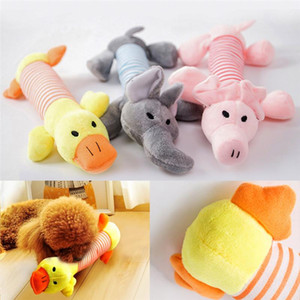 Funny Pet Cat toys Plush Squeak Sound Dog Toys Cute Fleece Elephant Duck Pig Pet Toys Durability Chew Molar Toy Fit for All Pets Plush Doll