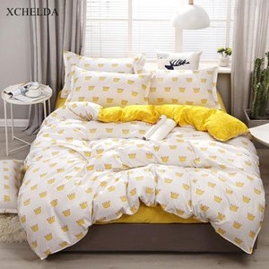 Bedding Set Family Double Queen Twin Kawaii Cartoon Crown Bedspread Kids Single Bed Sheet Pillowcase 4pcs Cotton Duvet Cover Set