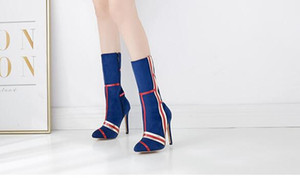 Fashion Women Mid Calf Boots Size 35-42 Stylish 2020 New Style Slip On High Heels Pointed Toe Autumn Wniter Casual Party High Heels Shoes