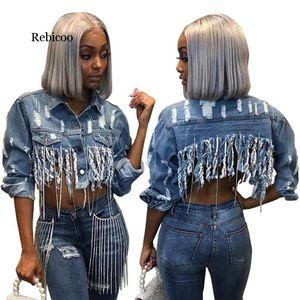 Rebicoo кисточкой Ripped Обрезанные Жан куртка женщин Осень цепи с длинным рукавом джинсовой куртки Streetwear Short Denim пальто Женский Outwear
