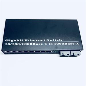 8UTP&2SC 10 100 1000M Gigabit Ethernet switch Ethernet Fiber Optical Media Converter Single Mode 8*RJ45 UTP and 2*SC fiber Port