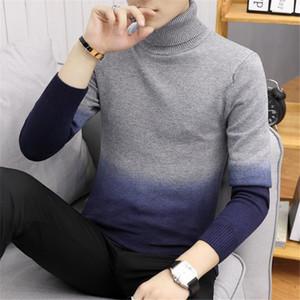 Gradiente Mens di colore felpata casuale a maniche lunghe Collo Slim maglione Nuovo Inverno Autunno Abbigliamento Uomo