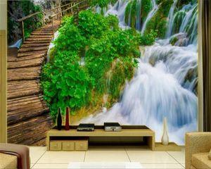 Wallpaper Wallpaper 3d murale Living 3d Beautiful Scenery Waterfall Paesaggio Pittura TV sfondo parete 3d Paesaggio