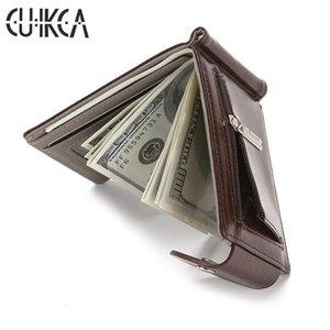 CUIKCA Slim Wallet Sac en cuir Pièce de monnaie Carte clip argent Cas Zipper Femmes Hommes Wallet Pull détenteurs Type de carte de crédit ID Moraillon