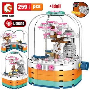 Çiçeği Yapı Döner Cherry Tree İl Kutu Görünümü Sembo Light House Tuğlalar Oyuncaklar İçin Blokları Sokak Led Arkadaş Yaratıcı Çocuklar yxlrum