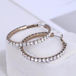 Pendientes de aro de tenis diamantados imitados Aretes de diamante estadounidense Pendientes de corazón Joyas de oro Pendiente gratis con regalos