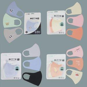Дети Ice Шелковой маска лето младенца Cartoon Printed рот Маска Anti-Dust дышащих моющиеся многоразовые ушной маска 3шт / серия GWB1017