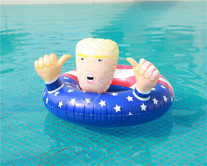 Cartoon Trump Swimming Ring Inflatable Floats Giant Large Circle Flag Swim Ring Float Adults Summer Pool Play Water Party Gifts D81712