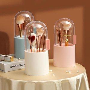 Makeup Brush Storage Box Cosmetic Organizer Makeup Brush Barrel Holder Eyebrow Pencil Plastic Box Waterproof Contains Pearls