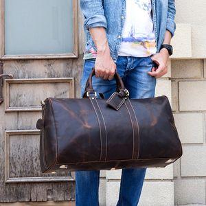 Maheu hombres de cuero genuino bolsa de viaje de viaje de bolso de viaje grande de la bolsa de fin de semana Hombre Hombre Piel de lona Bolsa de lona Equipaje Mano Mano Bolsos grandes 60 cm 200921
